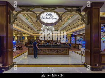 Eingang zum Sands Pokerraum im Venetian Resort Hotel Casino auf dem Las Vegas Strip im Paradies, Nevada - Stockfoto
