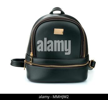 Vorderansicht aus schwarzem Leder Rucksack isoliert auf weißem - Stockfoto