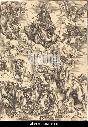 R -20101130-0024.jpg Albrecht Dürer (1471 - 1528), Das Tier mit zwei Hörnern wie ein Lamm, wahrscheinlich C. 1496/1498, Holzschnitt, Geschenk von W. G. Russell Allen Albrecht Dürer - Das Tier mit zwei Hörnern wie ein Lamm (NGA 1941.1.26) - Stockfoto