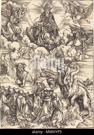R -20101130-0025.jpg Albrecht Dürer (1471 - 1528), Das Tier mit zwei Hörnern wie ein Lamm, wahrscheinlich C. 1496/1498, Holzschnitt auf Bütten, Rosenwald Sammlung Albrecht Dürer - Das Tier mit zwei Hörnern wie ein Lamm (NGA 1943.3. 3565) - Stockfoto