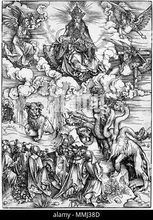 Das Tier mit zwei Hörnern wie ein Lamm (B. 74; M., Holl. 175) * Holzschnitt aus der Apokalypse * 39 x 28,2 cm * ca. 1496-1497 Durer, apocalisse, 12 il mostro Marino e la Bestia - Stockfoto