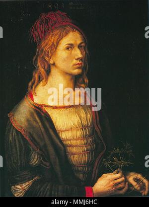 Selbstportrait Alternativer Titel (s): Porträt des Künstlers eine Distel.. 1493. Albrecht Duerer selbstportr - Stockfoto