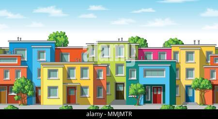 Abbildung: Farbenfrohe, moderne Haus mit Bäumen, nahtlose - Stockfoto