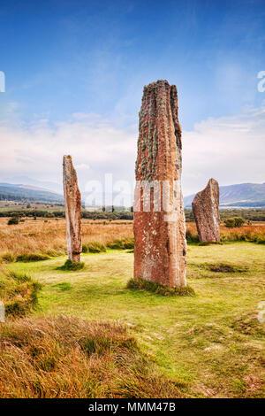 Machrie Moor 2 Stone Circle, einem 4000 Jahre alten Megalith-monument auf der Insel Arran, North Ayrshire, Schottland. - Stockfoto