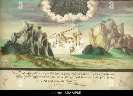 Augsburger Wunderzeichenbuch-Folio 157 - Himmelsschlacht, Löwen über Glarus 1547 - Stockfoto