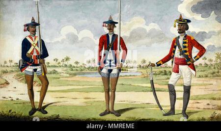 . Englisch: Bengal Army Truppen, Aquarell auf Papier, von einem Europäischen Unternehmen Künstler, 1785. Diese frühe Malerei ist typisch im zeigen Beispiele für verschiedene Ränge und Regimenter in der Bengalischen Armee: ein golandaz (Artillerie), einen sepoy (Infanterie private) und einem subadar (ein älterer Indischer Officer). Der Stil ist konzipiert für den europäischen Geschmack mit einem exotischen, malerischen Hintergrund mit dünnen Aquarell wäscht gemalt zu appellieren. National Army Museum Collection, London: NAM Beitritt Nummer 1980-03 -22-1. 1785. Unbekannte bengalischen Armee Truppen, 1785 - Stockfoto