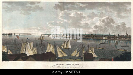 Ein Blick auf die Stadt mit Segel und Dampf Schiffe. Datum: ca. 1840 ...