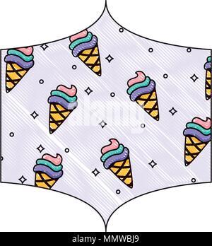 Dekorative Rahmen mit Eistüten Muster auf weißem Hintergrund, farbenfrohen Design. Vector Illustration - Stockfoto