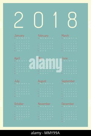Plakat im minimalistischen Stil. Vektor Vorlage von 2018 neues Jahr Kalender in sauberen Minimale Tabelle einfachen Stil - Stockfoto