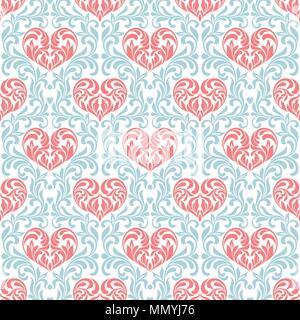 Nahtlose Muster. Rosa Herzen im Strudel, Blätter und florale Elemente auf einem blauen floral background gemacht - Stockfoto