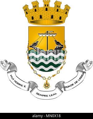 Wappen der portugiesischen Hauptstadt Lissabon - Portugal. - Stockfoto