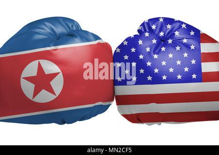 flagge der usa und nordkorea auf risse im hintergrund konzept der konflikt zwischen zwei. Black Bedroom Furniture Sets. Home Design Ideas