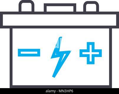Auto-Batterie-kostenlos-Symbol. Dünnen Kreis Design. Vektor ...