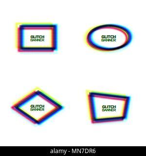 Verzerrte glitch Texture Frame Set. Abstrakte moderne Oval Rechteck rhombus polygon Hintergrund mit glitch Wirkung. Gebrochene Sign Collection mit RGB-CMYK-Farben. Minimal Style Vector Illustration - Stockfoto