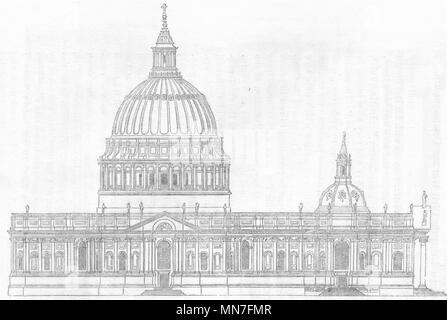 LONDON. Christopher Wren's 1 Design für St Paul's 1845 alten, antiken Drucken - Stockfoto
