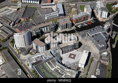 Luftaufnahme von Leeds Dock, ehemals Clarence Dock, Leeds, West Yorkshire, UK - Stockfoto