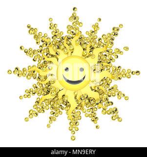 Glückliches Gesicht kleines Symbol 3D-Objekte, horizontal, über Weiß - Stockfoto