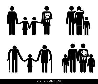 Gruppe von Familienmitgliedern Avatare Silhouetten - Stockfoto
