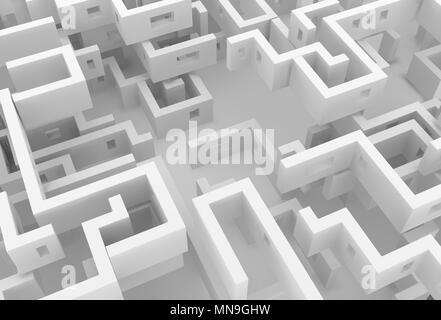 Weiße Wand Labyrinth Labyrinth leeren Raum abstrakt, 3D-Darstellung, horizontal - Stockfoto