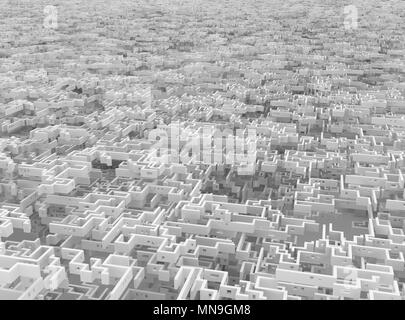 Weiße Wand Labyrinth endlos riesige Labyrinth surreal, 3D-Darstellung, horizontal Hintergrund - Stockfoto