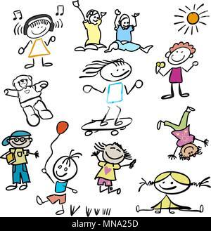 Verschiedene farbige Happy Kids Doodles, Vektor skizziert Umrisse Artwork - Stockfoto