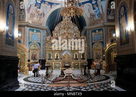Innenansicht der Kathedrale der Geburt Christi (rumänisch: Catedrala Mitropolitana Na?terea Domnului) die Kathedrale der moldauischen Orthodoxe Kirche in den 1830er Jahren zu einer neoklassischen Design in der Stadt Chisinau Kishinev auch als die Hauptstadt der Republik Moldau gebaut, bekannt - Stockfoto