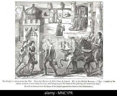 Der Ritter Rückkehr aus Krieg, 15. Jahrhundert Stockfoto