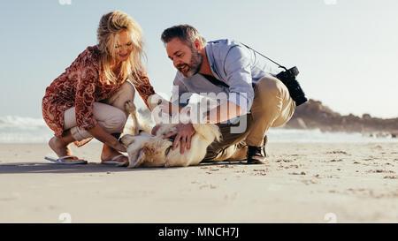 Senior Paar spielen mit ihrem Hund am Strand. Älterer Mann und Frau Spaß mit Ihrem Hund, der am Ufer des Meeres. - Stockfoto