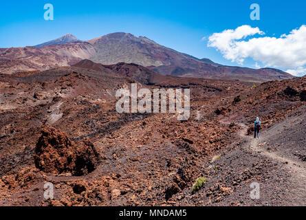 Weibliche Wanderer auf dem Montana de La Botija suchen Letzten desolaten Lavaflüssen auf den Gipfel des Teide auf Teneriffa, Kanarische Inseln - Stockfoto