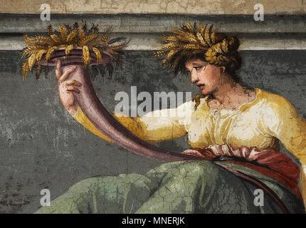 Abbildung von Ceres holding Weizen, Renaissance mythologische Szene in der Fries von der Halle der Perspektiven (in PS gerendert), Peruzzi, Rom, Italien - Stockfoto