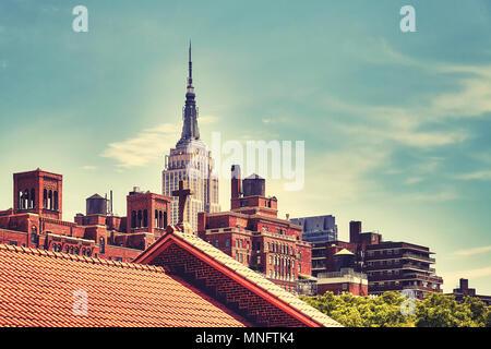 New York City Skyline, Farbe getonte Bild, USA - Stockfoto