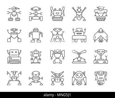 Roboter thin line Icon Set. Transformator lineare Symbol pack Cyborg ...