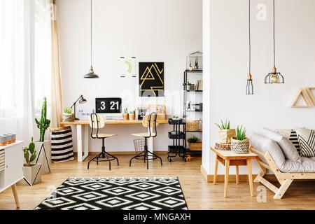 skandinavische zimmer in einem modernen loft mit. Black Bedroom Furniture Sets. Home Design Ideas