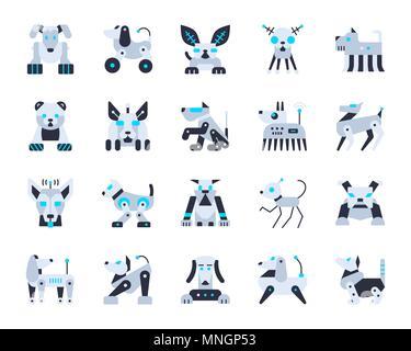 Roboter Hund Flach Symbole gesetzt. Web sign Kit von pet. Cute Zeichen Piktogramm Sammlung umfasst Transformator, Maschine, Cyborg. Einfache Roboter Hund cartoon Col - Stockfoto