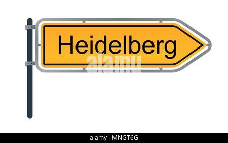 Stadt Heidelberg gelb Deutsche street sign Abbildung auf weißem Hintergrund - Stockfoto