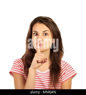 Junge Mädchen, die Stille Geste. emotionale Mädchen auf weißem Hintergrund. - Stockfoto