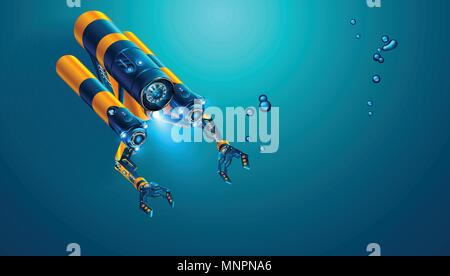 Autonome Unterwasser rov mit Manipulatoren oder Roboterarme. Moderne ferngesteuerten Unterwasserfahrzeugs. Fiktive subsea Drohne oder Roboter für tiefe un - Stockfoto