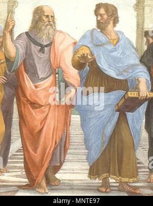 "Englisch: Die Schule von Athen Raffaello Sanzio,, 日本語: 古代ギリシア時代を中心とした哲学的叡智が集結している姿を描いている、ラファエロの"" アテナイの学堂"" の中心的なパートにあたるアリストテレスとプラトンの部分。 哲学の大元を作った二人の描いたこの部分は、哲学 しばしば"" ""を端的に表しているものとして採り入れることがある。 Polski: Szkoła ateńska: Platon (z lewej) i prawej Arystoteles (z) Türkçe: Atina Okulu'ndan Eflatun (Ve) Aristo'yu (sağ) gösteren Bir ayrıntı Detail. angezeigt Plato (links), bis hin zu den Idealen, und Aristoteles (rechts), die gegenüber der physischen Welt. 1509. 1009 Platon und Aristoteles in der Schule von Athen, von italienischen Rafael - Stockfoto"
