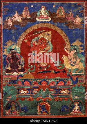 Red Yamari durch Virupa und Dombi Heruka 17. Jahrhundert flankiert. 1045 Rot Yamari durch Virupa und Dombi Heruka - Google Kunst Projekt flankiert - Stockfoto