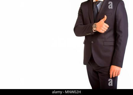 Business Mann gibt Daumen hoch isolierten - Stockfoto