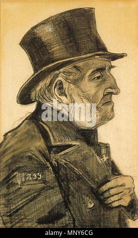 Vincent Van Gogh - Waise Mann mit langen Mantel und Regenschirm, gesehen von hinten (JH214 ...