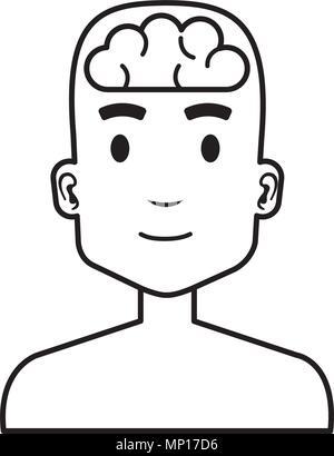Menschliche Profil mit Gehirn Vector Illustration Design - Stockfoto