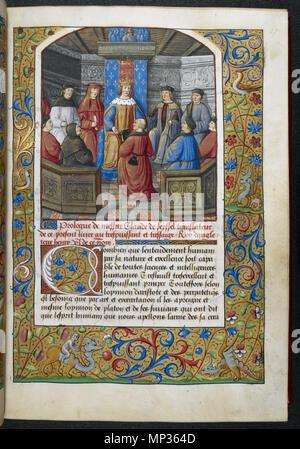 Royal 19 C-VI, w.17 Miniatur von Henry VII. das Buch von der Übersetzer, Claude de Seyssel, mit einem beleuchteten erste 'C' (ombien), und eine vollständige Grenze einschließlich groteske Hybriden, zu Beginn des Prologs an Henry VII. Royal 19 C-VI, f 17 1275 Xenophon von Seyssel-BL Royal 19C VI f17 (Henry VII. Das Buch übersetzt empfangen) - Stockfoto