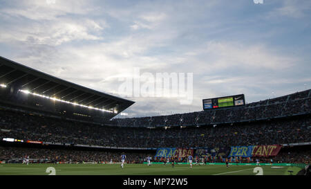 Barcelona, 20. Mai: Camp Nou Stadion während des 2017/2018 LaLiga Santander Runde 38 Spiel zwischen dem FC Barcelona und Real Sociedad San Sebastián im Camp Nou am 20. Mai 2018 in Barcelona, Spanien. - Stockfoto
