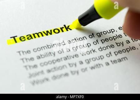 Teamwork gelb markiert - Stockfoto