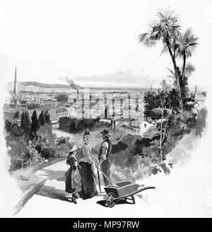 Gravur einer Familie genießen Sie die Aussicht über die Stadt Dunedin ca. 1880, Neuseeland. Von der malerischen Atlas von Australasien Vol. 3, 1886 - Stockfoto