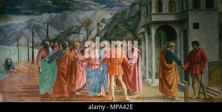 Der Tribut Geld 1425. 869 Masaccio 7 - Stockfoto