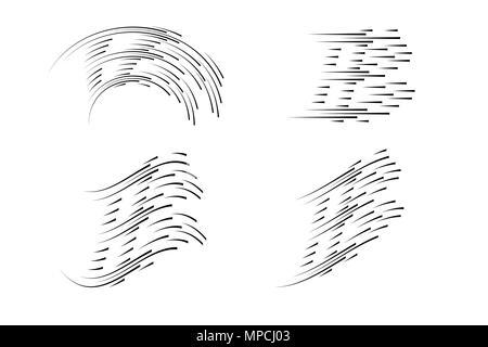 Isolierte Speed Lines. Die Wirkung von Bewegung auf ihr Design. Schwarze Linien auf einen transparenten Hintergrund. Der fliegende Partikel. Vector Illustration. Die Bewegung nach vorn - Stockfoto