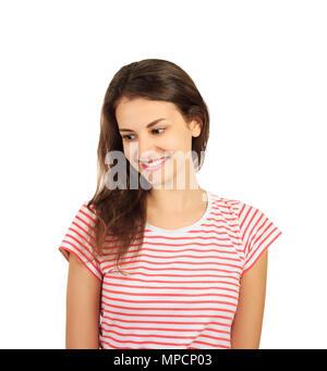 Nahaufnahme einer hübschen jungen Frau nachdenklich. emotionale Mädchen auf weißem Hintergrund. - Stockfoto