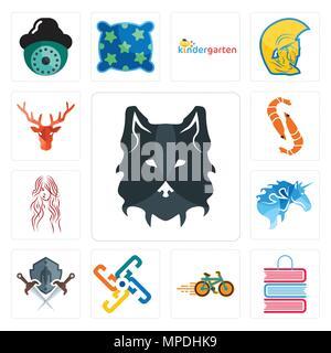 Satz von 13 Einfache editierbare Ikonen wie Wolf Gesicht, Buch Shop, Fahrrad generic, Schild und Schwert, lange Haare, Garnelen, Hirsch Kopf kann für mobile, w verwendet werden - Stockfoto
